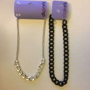NWT CLAIRE'S necklace bundle of silver and black